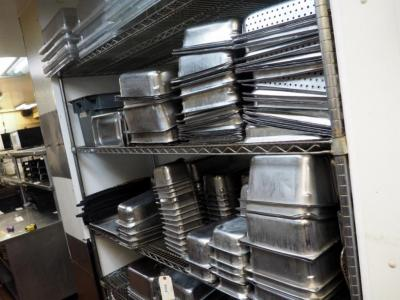 Stainless Steel Restaurant Pans Qty 100+, Inserts, Restaurant Bar Mats And Coffee Cups Approx Qty 40, Contents Of 2 Shelves