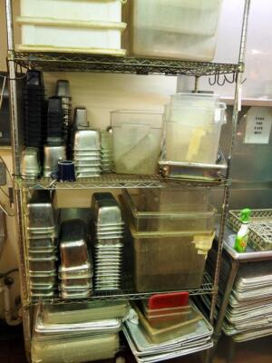 Plastic Bus Tubs, Inserts, Stainless Steel Pans, And Inserts, 50+ Pieces, Contents Of Shelf