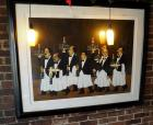 "French Waiters Serving Champagne Framed And Matted Poster, 41"" x 50"" Signed By Artist 299/595"