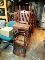 Wood Dining Chairs, Bar Stools, Rolling Office Chairs And Leather Captain Chair, Total Qty 22