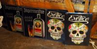 Metal Bar Signs Including, Jagermeister Qty 2 And Tequila Exotico Qty 2
