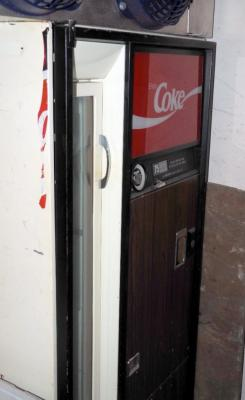 Vintage Coin Operated Coke Bottle Dispensing Machine With Side Door