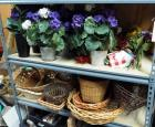 Artificial Flower And Plant Assortment Including Flowers Pots