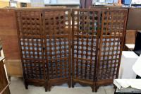 "Asian Inspired Wood Laced Room Divider Screen 74""W x 88""W"