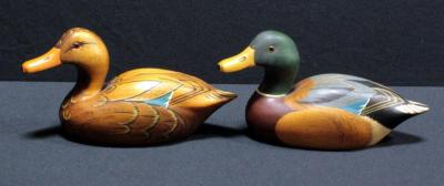 "Drake And Hen Mallard Duck Decoys, Hand Carved And Painted By Robert Lee 4.5""H x 8.5""L"