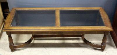 "Coffee Table With Beveled Glass Top, 16.5""H x 55""W x 22""D"