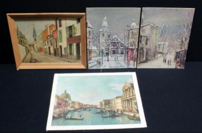 "Maurice Utrillo Parisian Prints, Qty 3, 2 Unframed, 16""W x 13""H, and Canaletto Venesia, Canal Grande Silk Print, 18""W x 14""H"