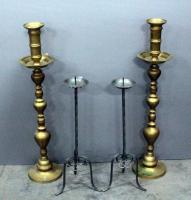 "Two Pairs Of Large Candle Holders, One Pair Brass, 24""H - 34""H"