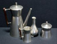 Metawa Holland 94% Pewter Tea Set, Includes Tea Pot, Sugar And Creamer, Dish And Bud Vase