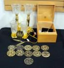 Brass And Glass Candle Holder Style Desk Lamps Qty 4, And Electric Candles Qty 4