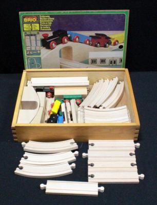 Brio Train Set #33152, In Original Dovetail Wood Box With Sliding Lid, Unknown If Complete