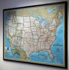 "National Geographic, ""The United States"" Mounted Map Copy Write 2000, Framed With Peg Board Back, 49"" x 71"""