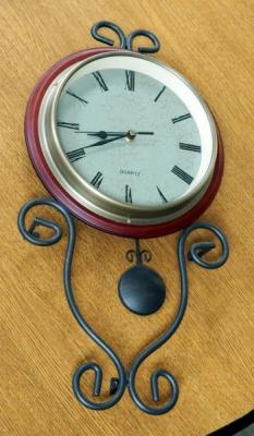 "Battery Operated Quarts Pendulum Wall Clock 8"" Face"