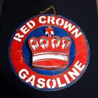 "Red Crown Gasoline Porcelain Sign With 2-D Crown, Sign 22.75""Dia, Crown 2"" Deep"