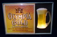 "Olympia Gold Lighted Beer Sign, Lights Up, 14""H x 20""W x 2.5""D"