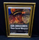 "WWII WW2 ""Our Carelessness Their Secret Weapon Prevent Forrest Fires"" State Forest Service War Propaganda Poster Print, Framed Size 21""W x 16""H"
