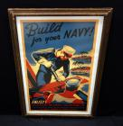 "WWII WW2 ""Build For Your Navy"" 1941 US Enlistment Nostalgia Poster Print By Penna Art W.P.A., Framed Size 18""W x 26""H"