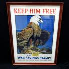 "WW1 ""Keep Him Free Buy War Savings Stamps"" US Treaury Department Poster Print By Charles Livingston Bull, Frame Size 25""W x 35""H"