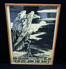 "WW1 ""On Guard! It's A Pretty Big Job For One Bird! Join The Navy!"" 1917 Recruitment Poster Print By H.B. Matthews, Frame Size 24""W x 34""H"