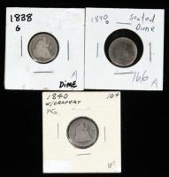 1838 and (2) 1840 Seated Liberty Dimes