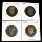 1985 S, 1987 S, (2) 1989 S Kennedy Half Dollar Proofs, Total Qty 4