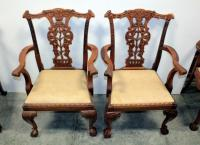 Chippendale Antique Reproduction Dining Chairs, Cushions Unattached, Qty 2