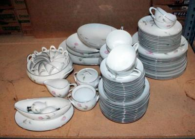 "Sango Japan China ""Dawn Rose"" Pattern Setting For 12 With Serving Dishes"